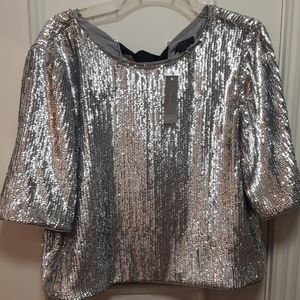 NWT J.Crew silver sequin blouse with bows